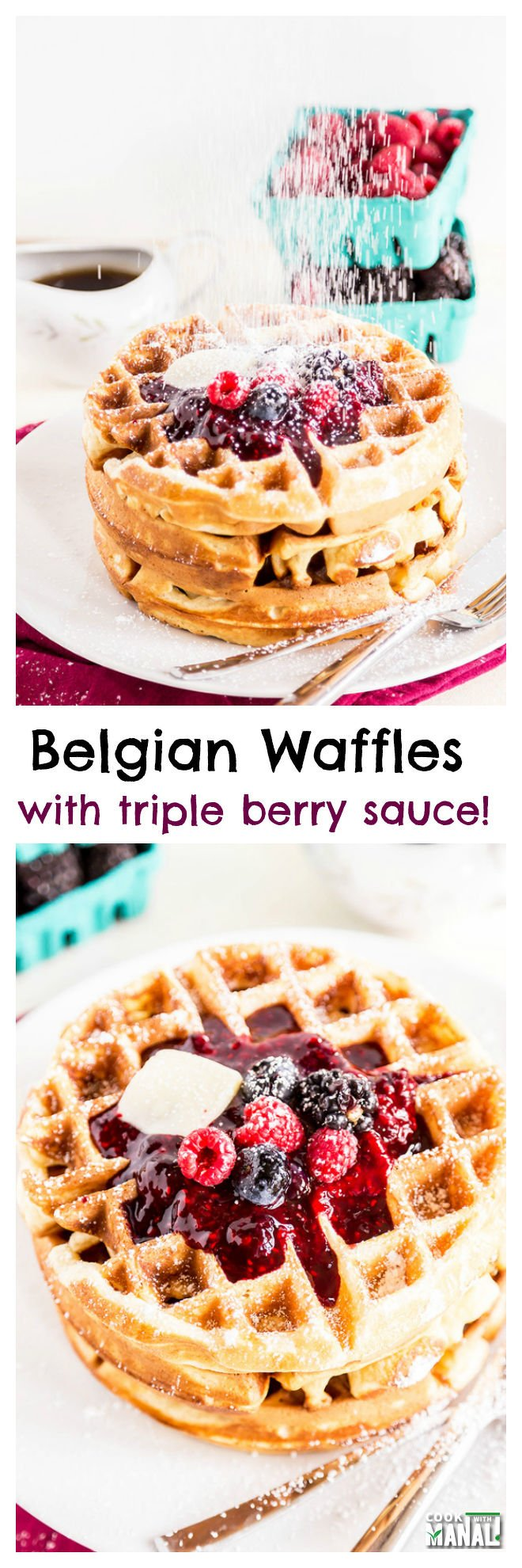 Belgian Waffles With Triple Berry Sauce-collage