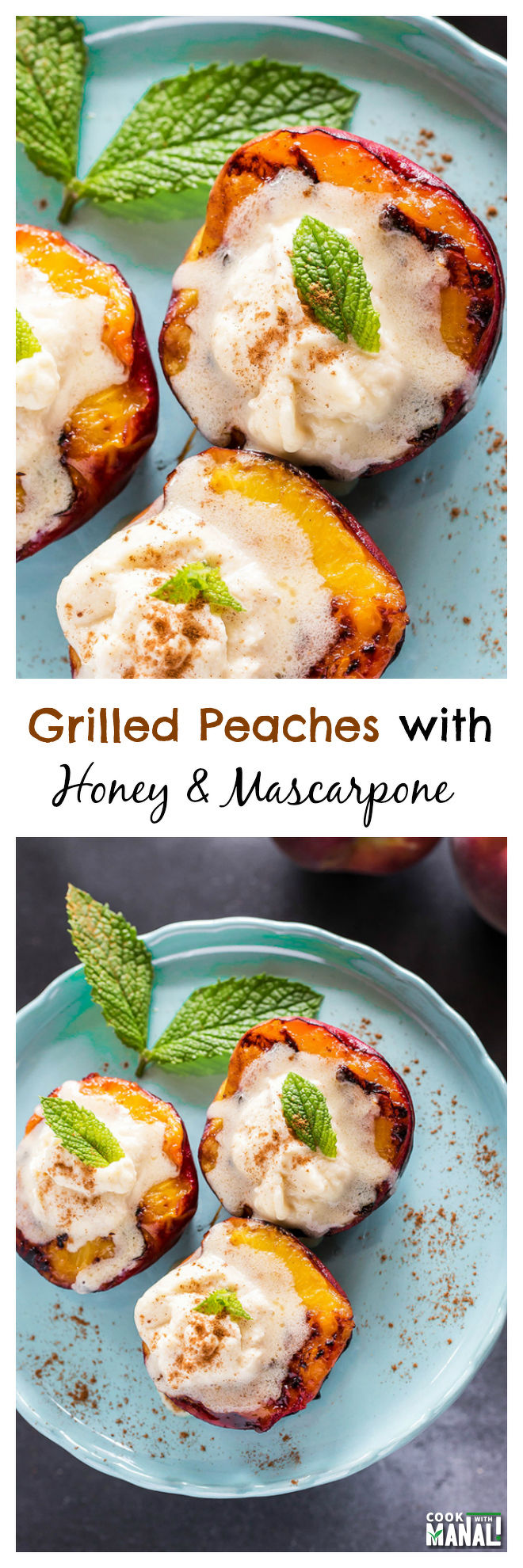 Grilled Peaches with Mascarpone Cheese-Collage