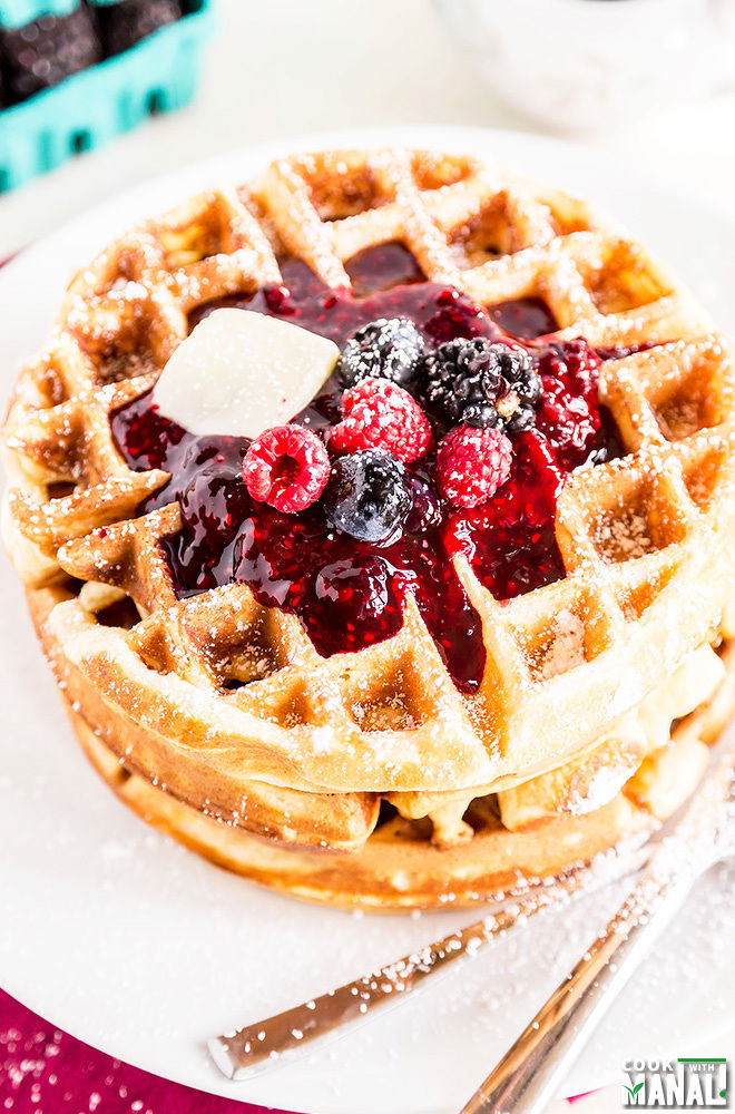 Homemade Belgian Waffles with Berry Sauce