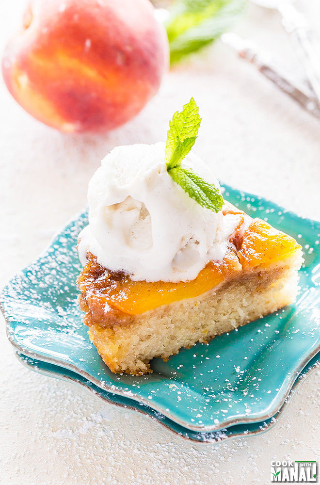 peach upside down cake cake cook with manali 6406
