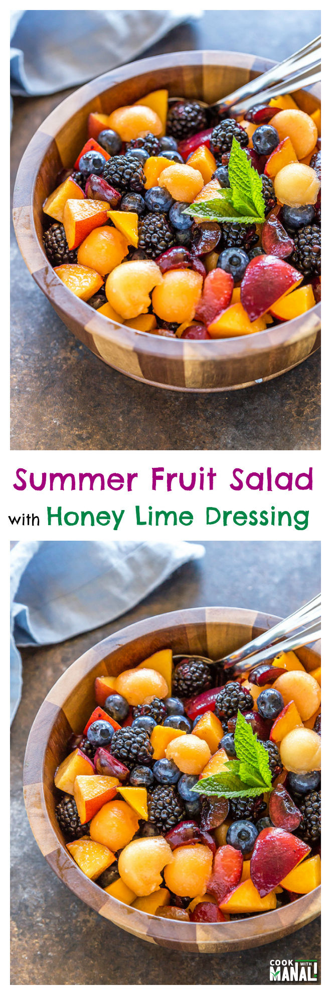 Summer Fruit Salad with Honey Lime Dressing - Cook With Manali