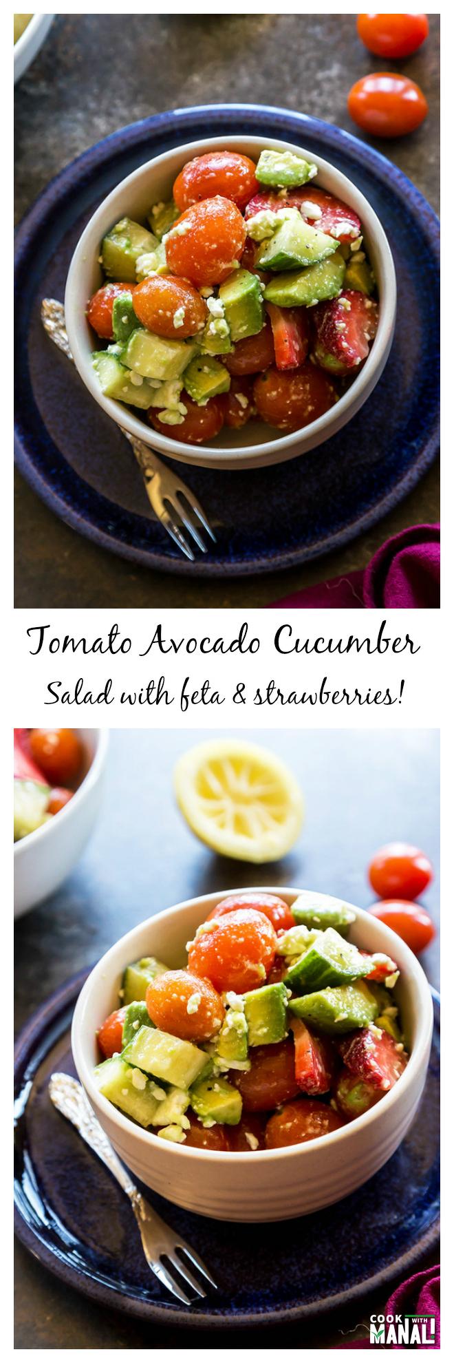 Tomato Avocado Cucumber Salad Collage
