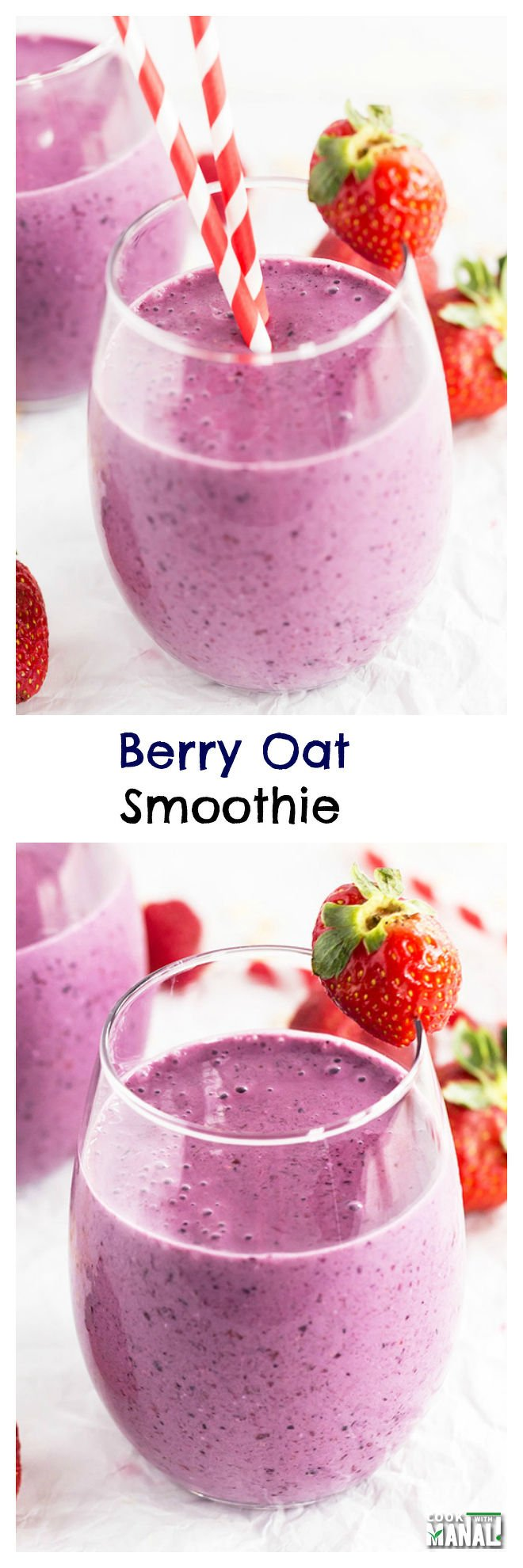 Berry Oat Smoothie Collage