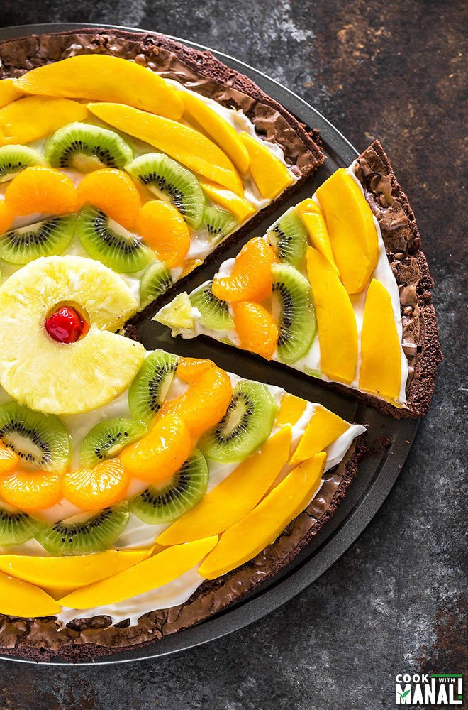 Tropical Fruit Brownie Pizza