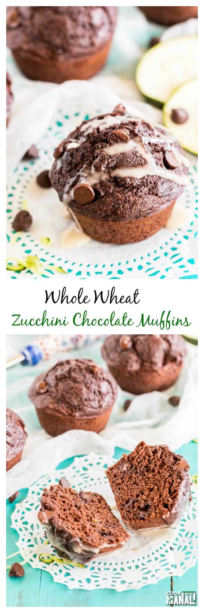 Zucchini Chocolate Muffins Collage