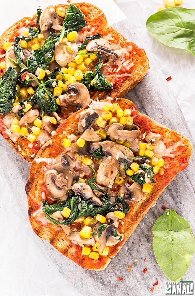Mushroom Spinach Corn Toast