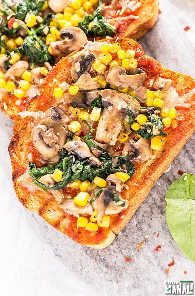 Spinach Corn Mushroom Toast