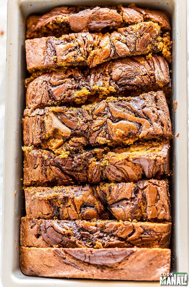Nutella Swirled Pumpkin Bread - Cook With Manali