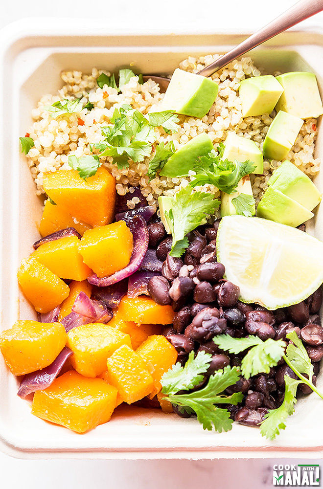Quinoa Butternut Squash Burrito Bowl - Cook With Manali