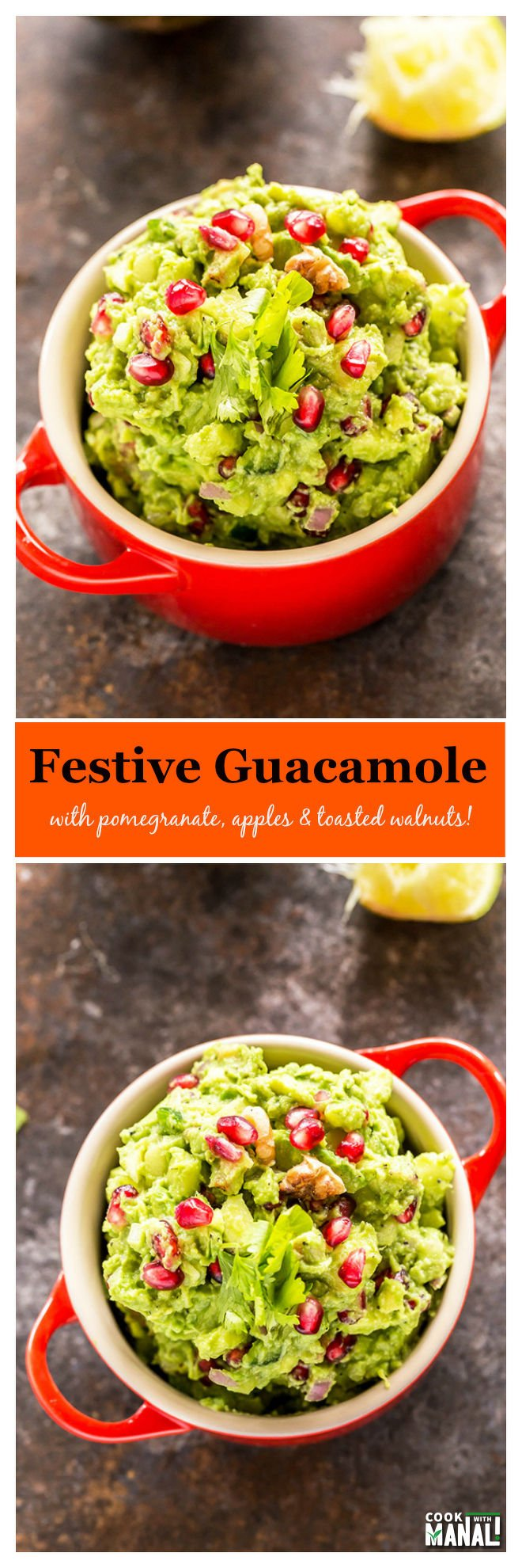 festive-guacamole-with-pomegranate-apples-collage