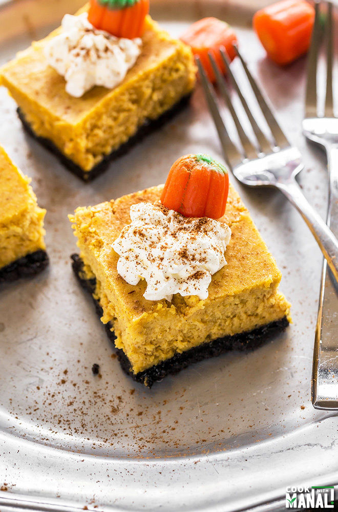 Pumpkin Cheesecake Bars - Cook With Manali