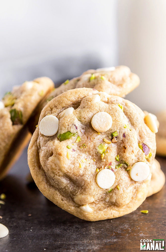 White Chocolate Chip Pistachio Cookies - Cook With Manali