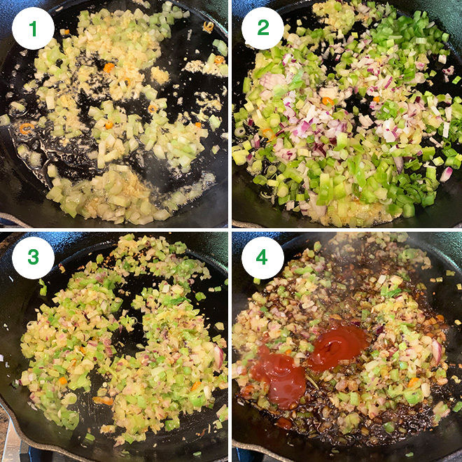 step by step picture collage of making gobi manchurian at home