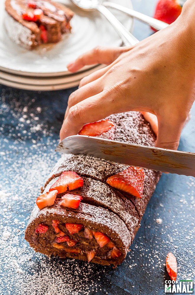 chocolate nutella cake roll