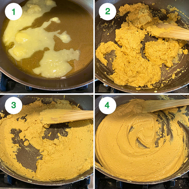 step by step picture collage of making besan burfi at home