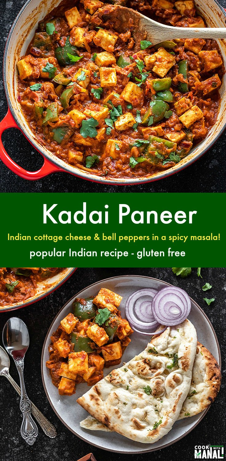 Indian Cottage Cheese and bell peppers are cooked in freshly ground spicy masala! Kadai Paneer is one of the most popular Indian paneer recipes and is best enjoyed with naan or roti! #vegetarian #indian