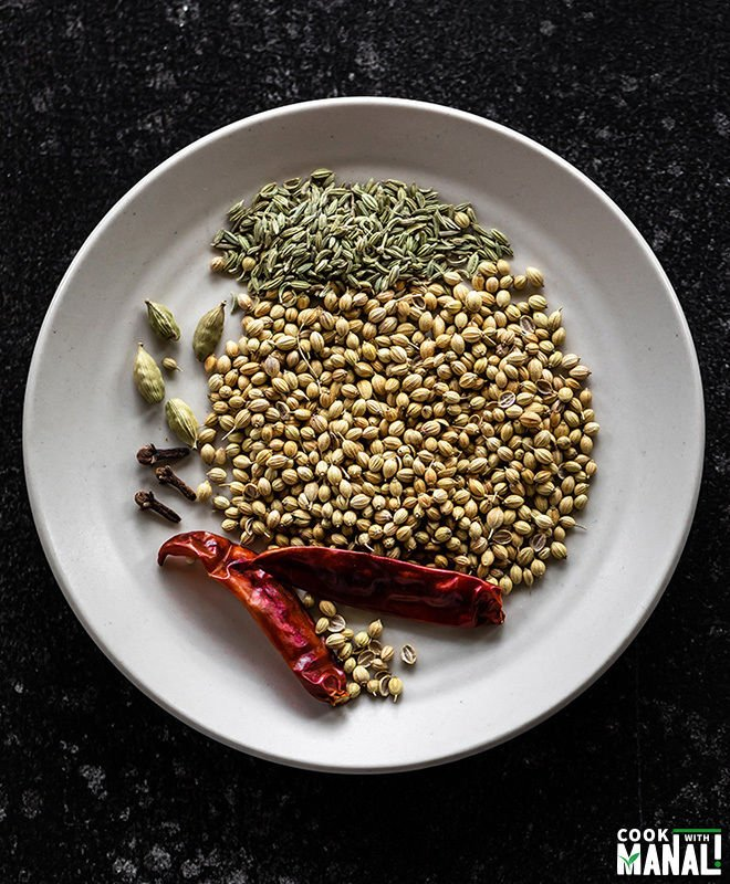 spices like coriander seeds, red chilies, cardamom and fennel seeds in a white plate