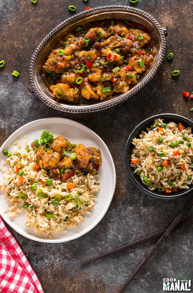 Indo chinese fried rice cook with manali the best way to enjoy this fried rice pair with gobi manchurian or chilli paneer in fact whenever i make fried rice at home i always end up making some ccuart Choice Image
