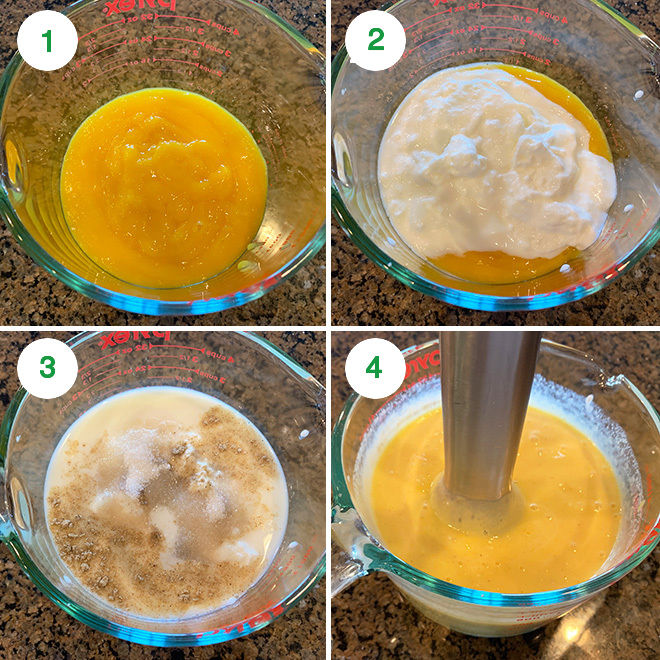 step by step picture collage of making mango lassi