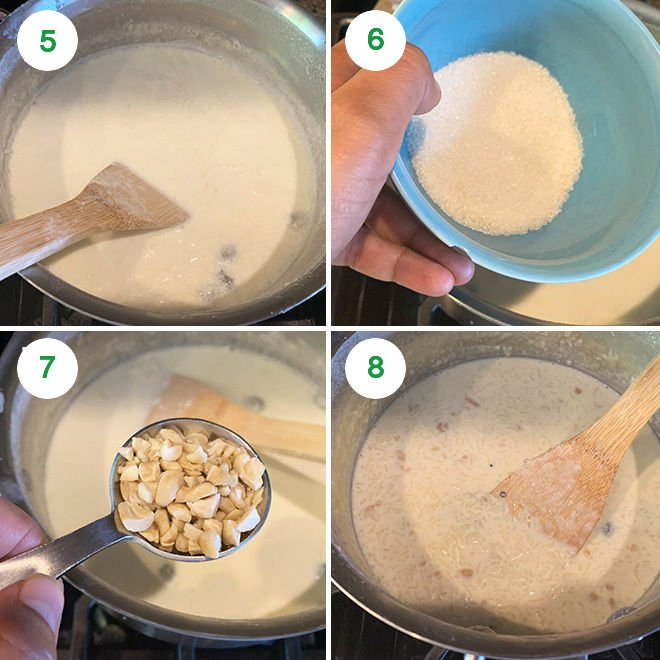 step by step pictures of making rice kheer at home