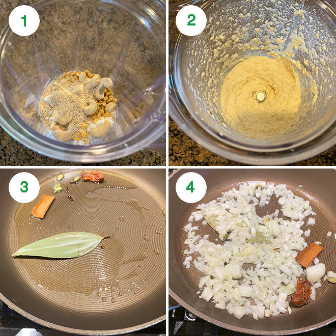step by step picture collage of making veg kurma at home
