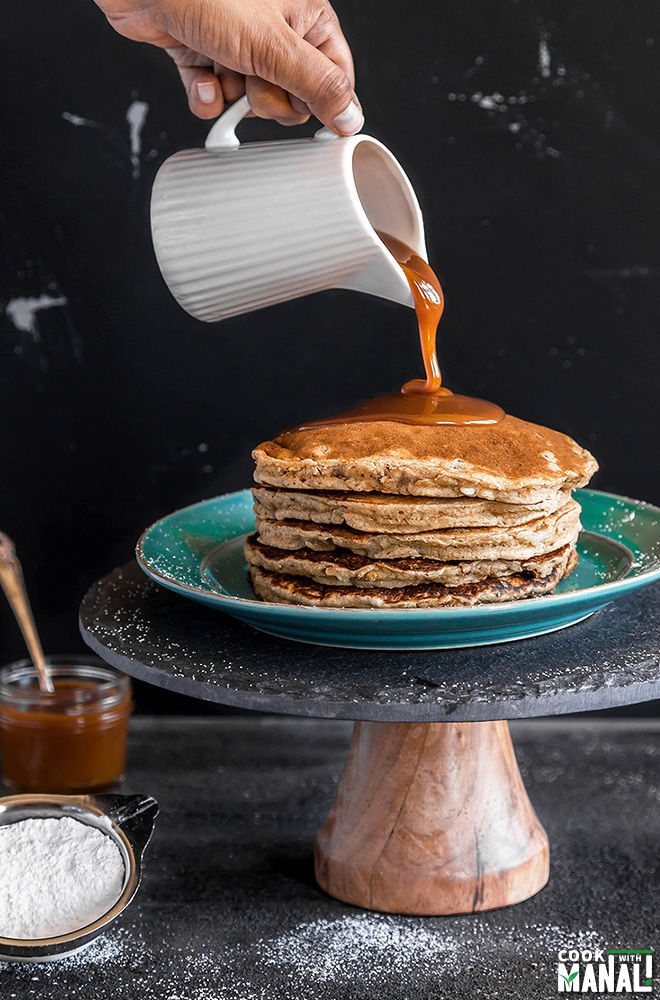 Banana Pecan Pancakes With Salted Caramel Sauce Cook