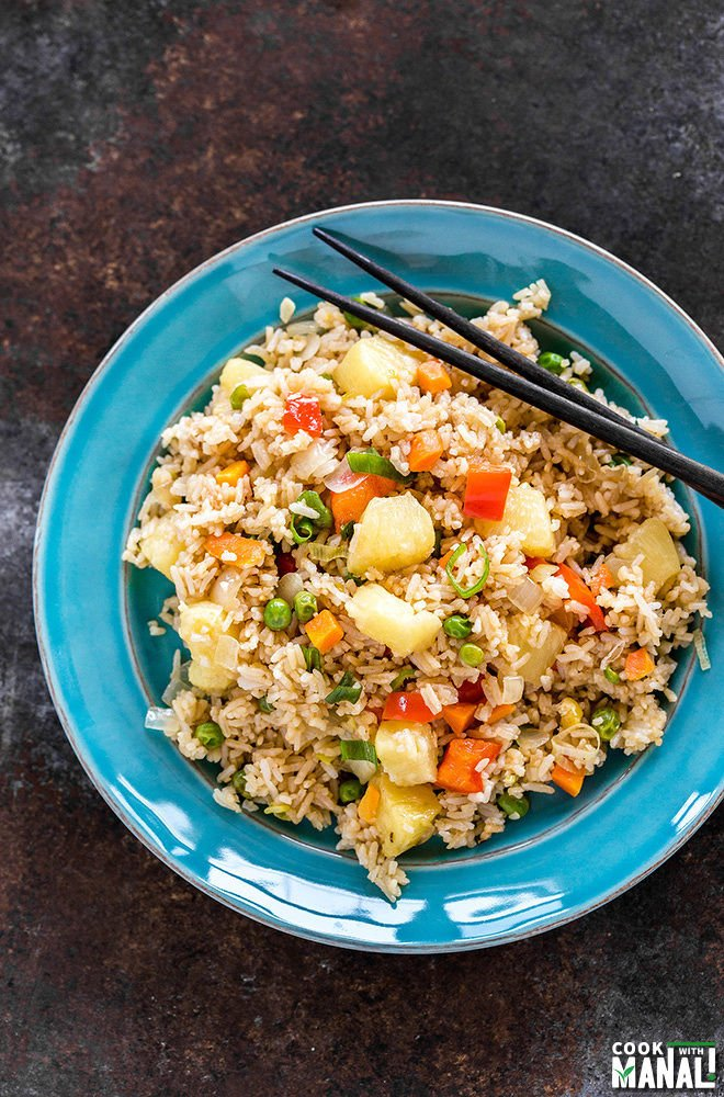 Instant Pot Vegan Pineapple Fried Rice + Video - Cook With Manali