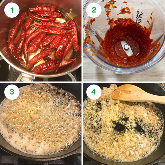step by step picture collage of making schezwan sauce at home