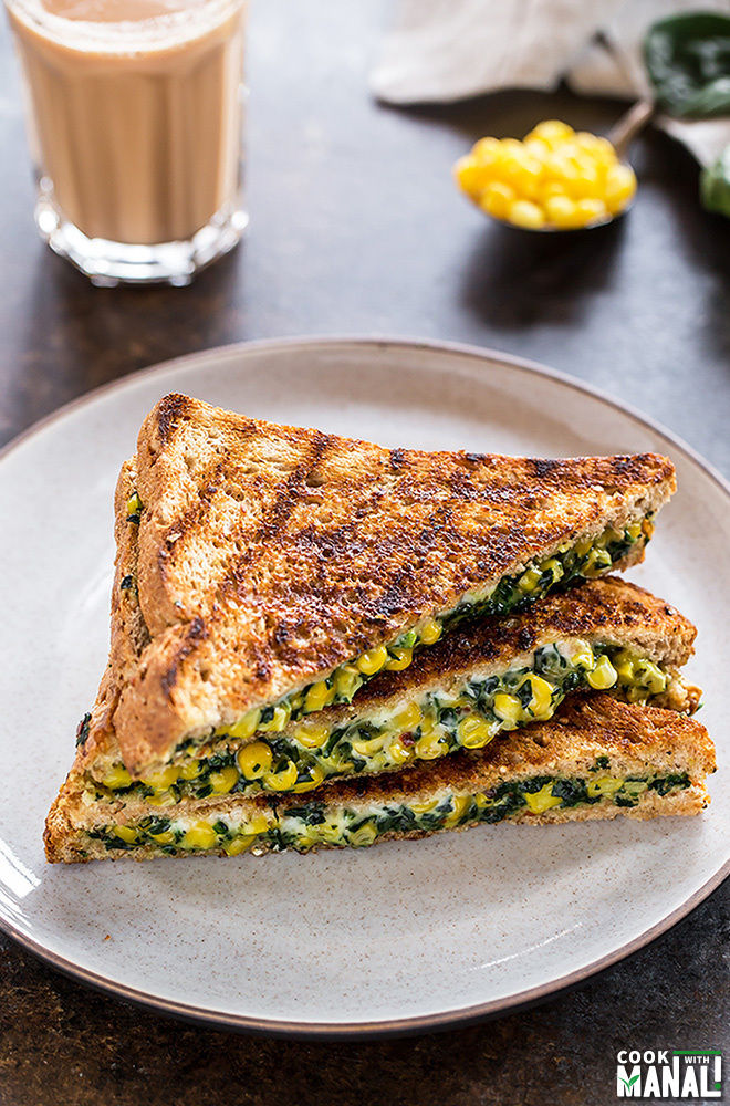 spinach corn sandwich