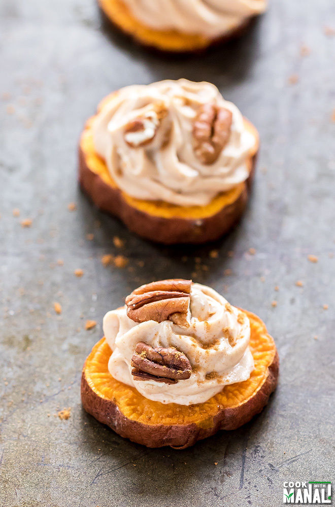 sweet potatoes cut into rounds and topped with maple cream cheese