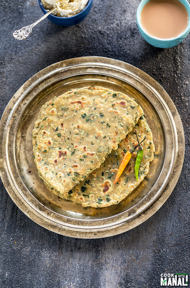 methi parathas in a plate