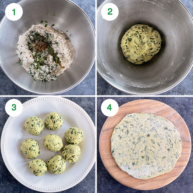 step by step picture collage to make methi paratha
