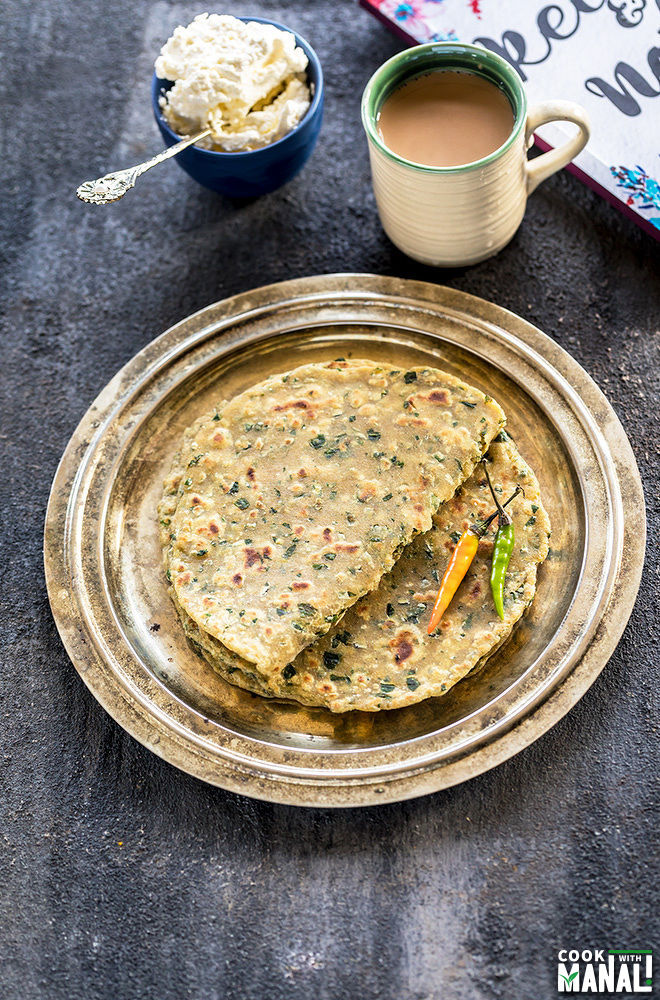 methi paratha served with chai