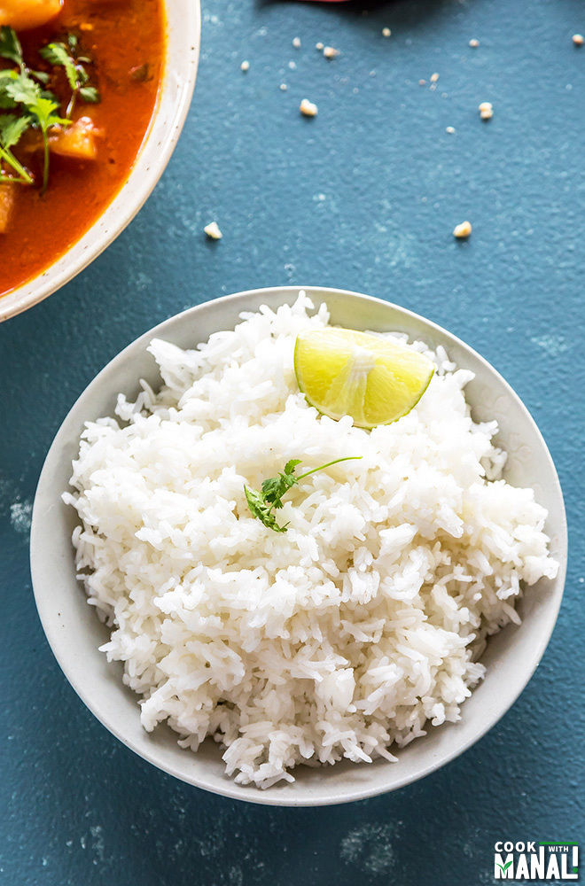 jasmine rice in a white bowl