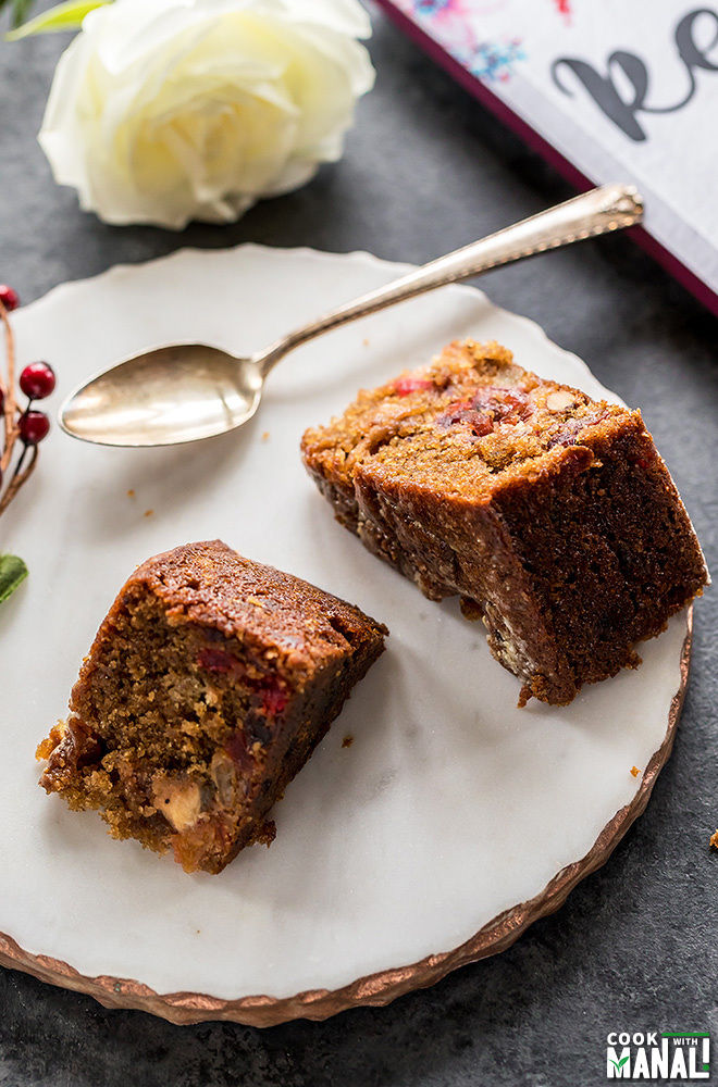 eggless fruit cake on a plate