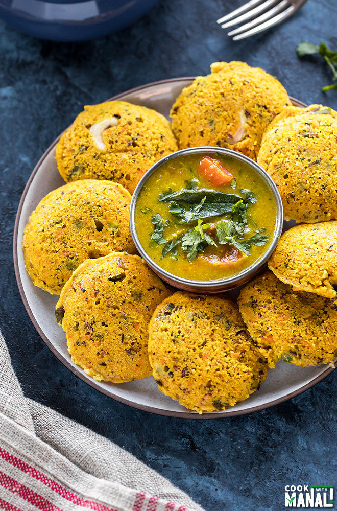 Oats Idli with Sambar
