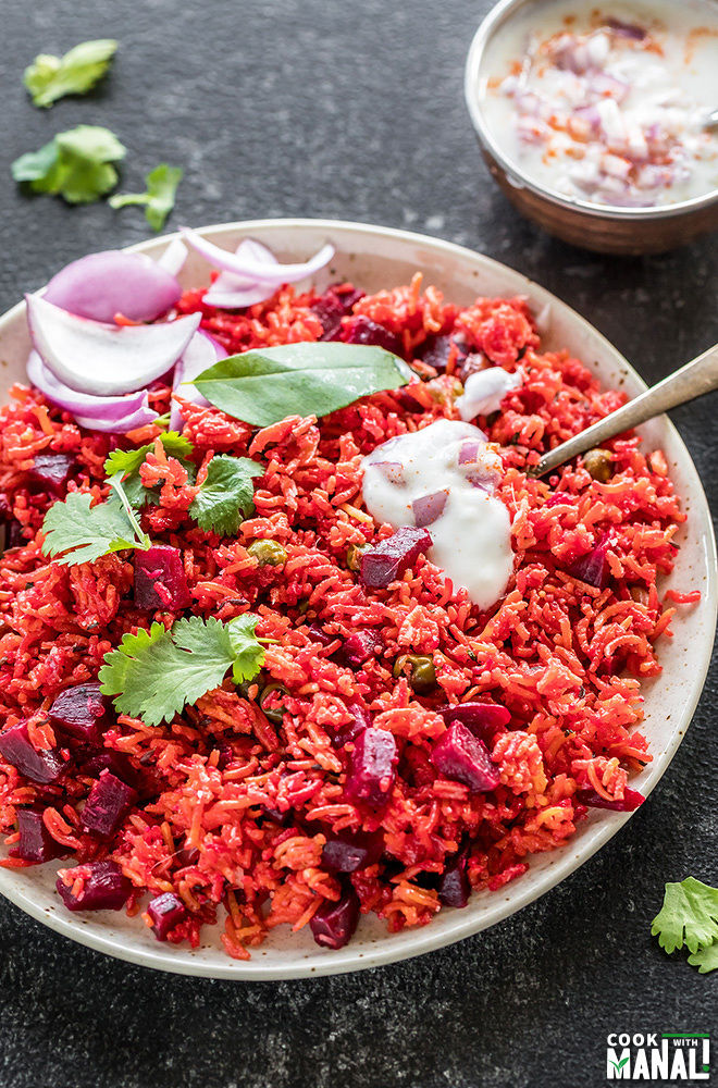 beetroot pulao made in the instant pot