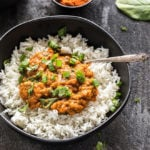 Instant Pot Ethiopian Lentil Stew with rice in a black bowl