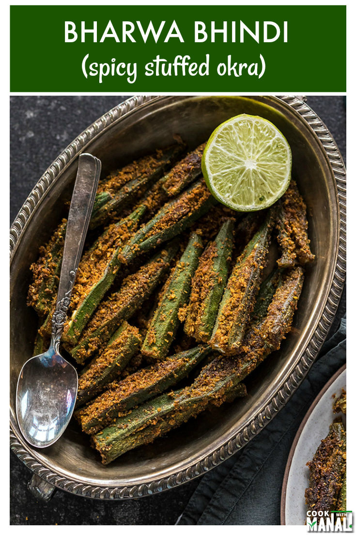 Okra stuffed with a spicy masala. This famous Indian dish goes well with flat-breads like roti and paratha. Vegan & gluten-free. #indian #vegan #okra #vegetarian #glutenfree