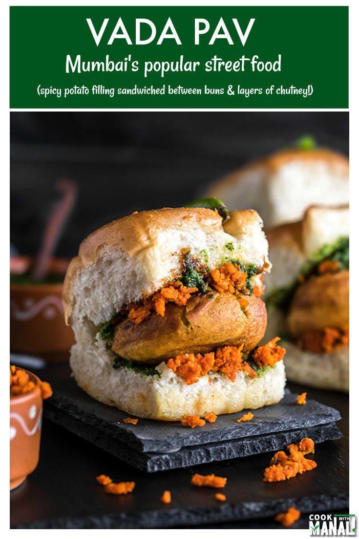 Vada Pav is Mumbai's most popular street food! Spicy potato filling is sandwiched between burger buns and layered with a spicy garlic chutney! #indian #vegetarian