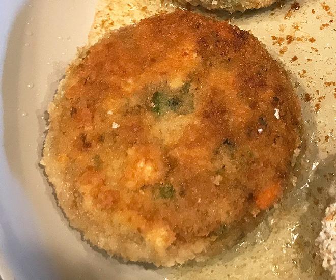 golden fried burger patties