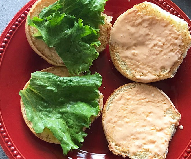 burger buns with lettuce