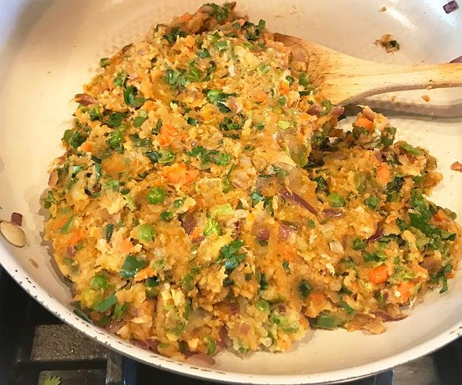 mashed veggies in a pan