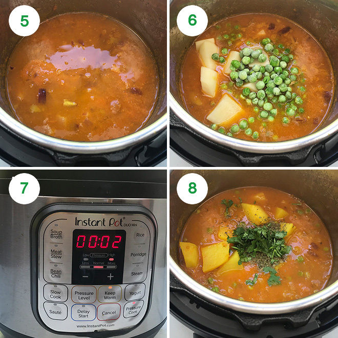 collage for step by step recipe of Instant Pot Aloo Matar