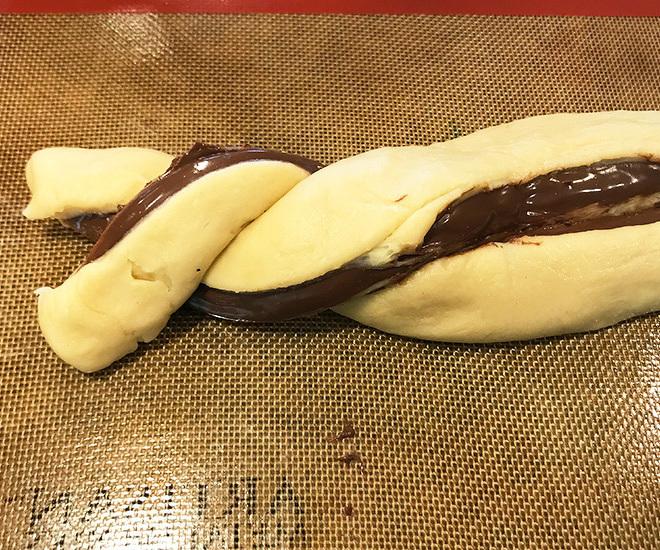 nutella babka dough being braided