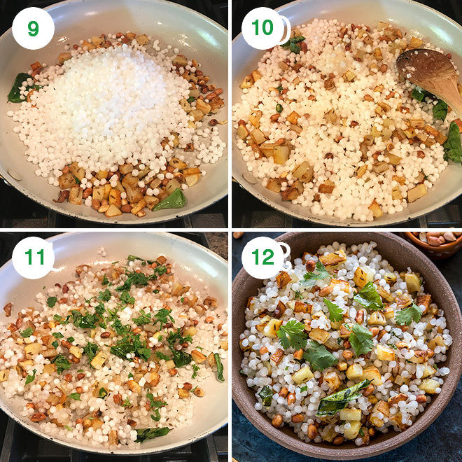 step by step pictures to make sabudana khichdi