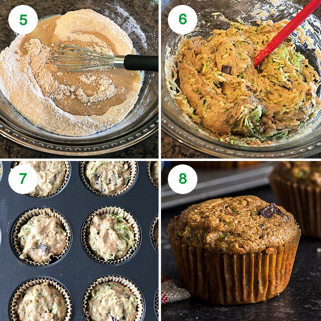 step by step process of making healthy zucchini muffins