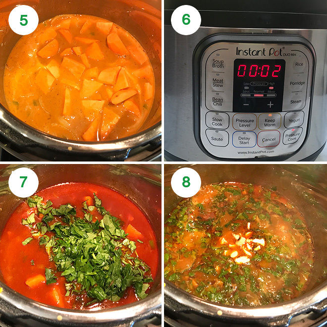 step by step process showing how to make sweet potato curry in instant pot