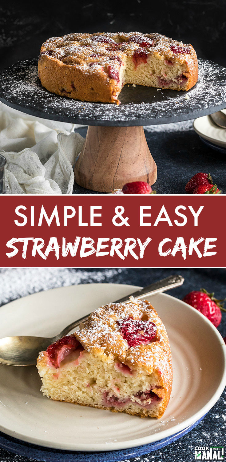 Easy Strawberry Cake made with basic pantry essentials! Serve it with a cup of coffee for a delicious treat! #cake #summer #strawberry #coffeecake