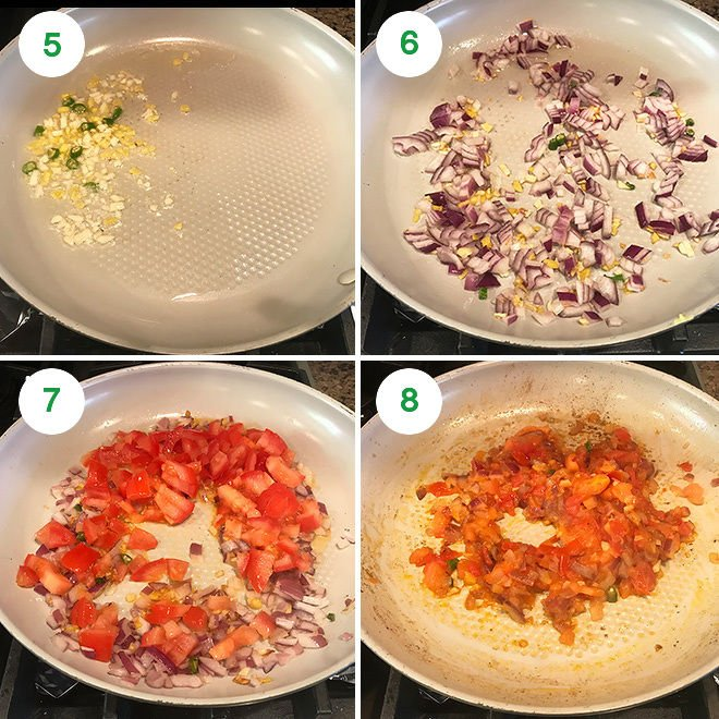 step by step pictures of making baingan bharta